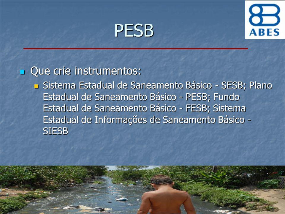PESB Que crie instrumentos: