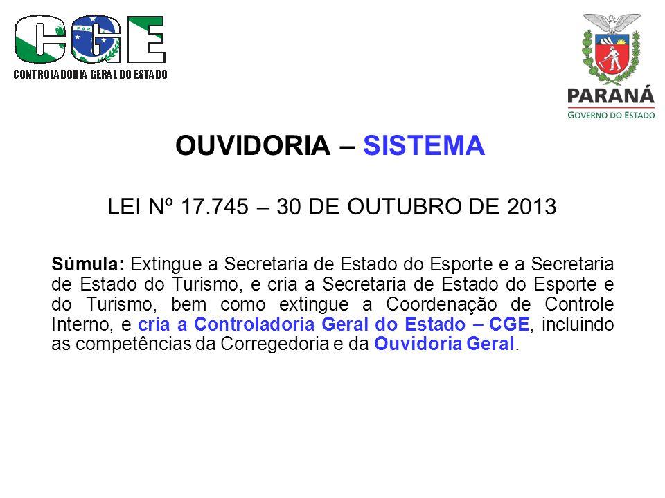OUVIDORIA – SISTEMA LEI Nº 17.745 – 30 DE OUTUBRO DE 2013