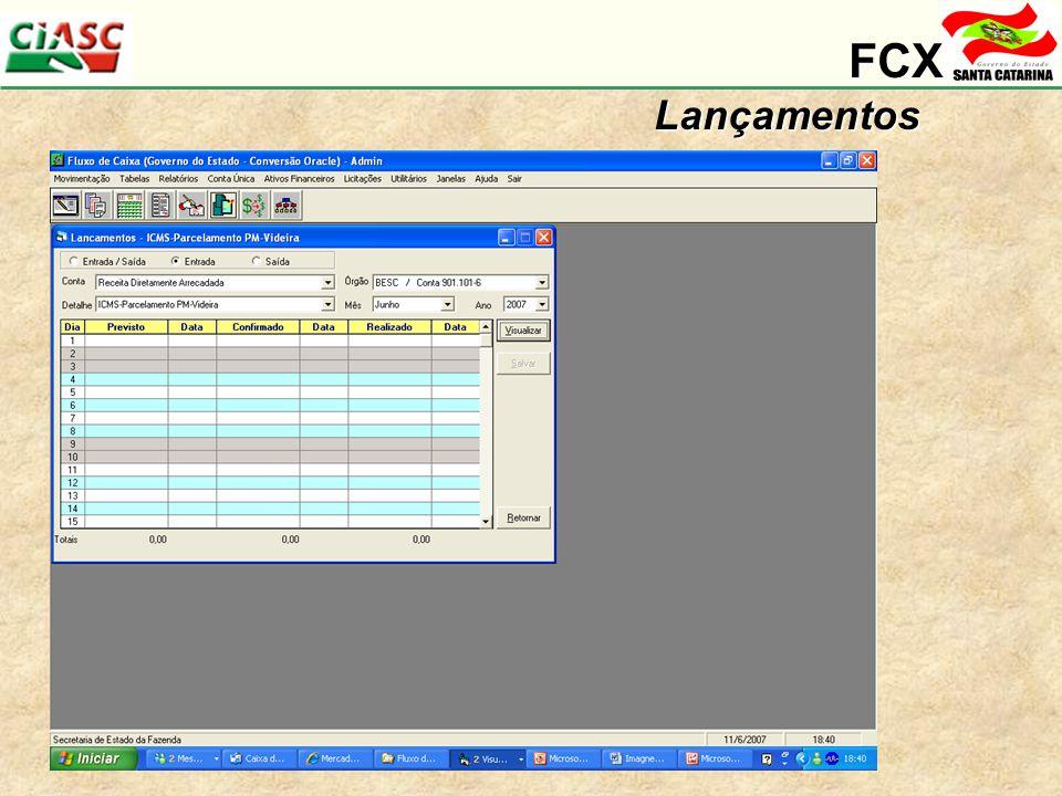 FCX Lançamentos Ressaltar valores Previstos / Confirmados / Previstos
