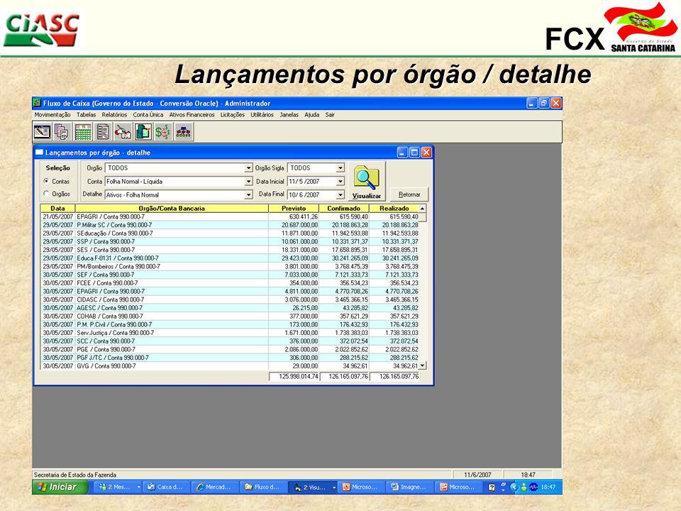 FCX Lançamentos por órgão / detalhe Consulta gerencial