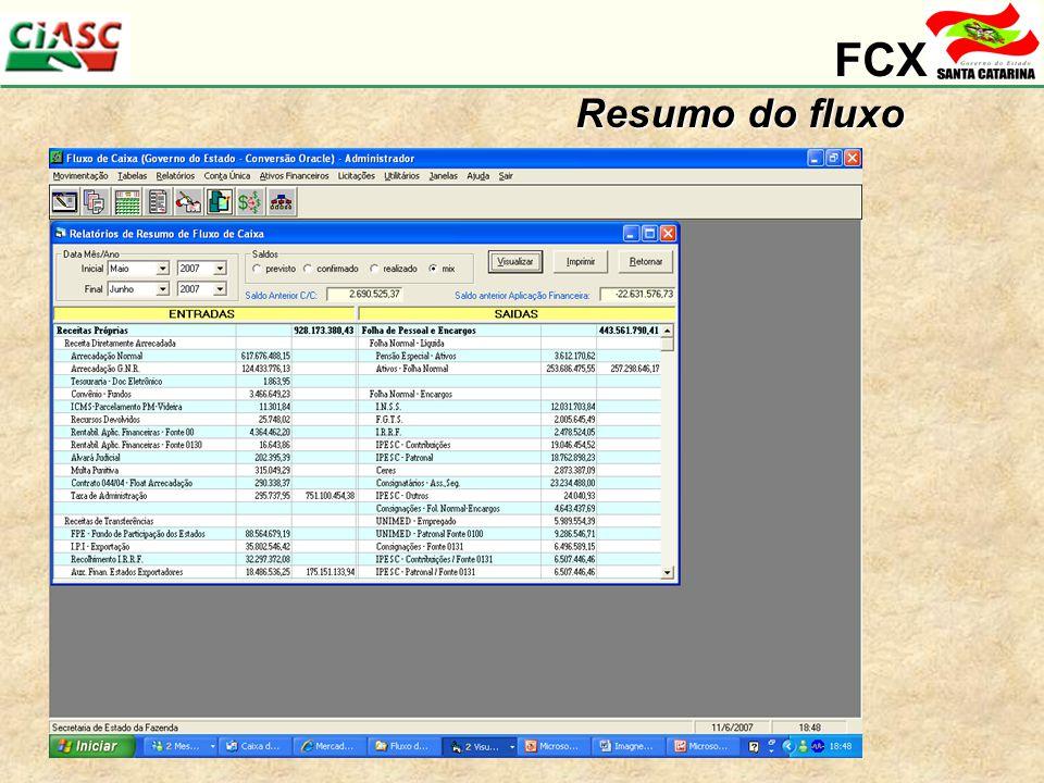 FCX Resumo do fluxo Balancete financeiro