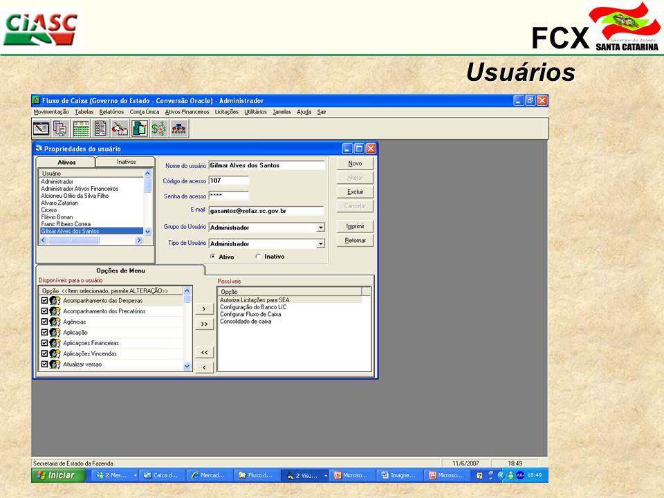 FCX Usuários Detalhes da segurança do sistema. Figuras representando grupo e/ou usuarios