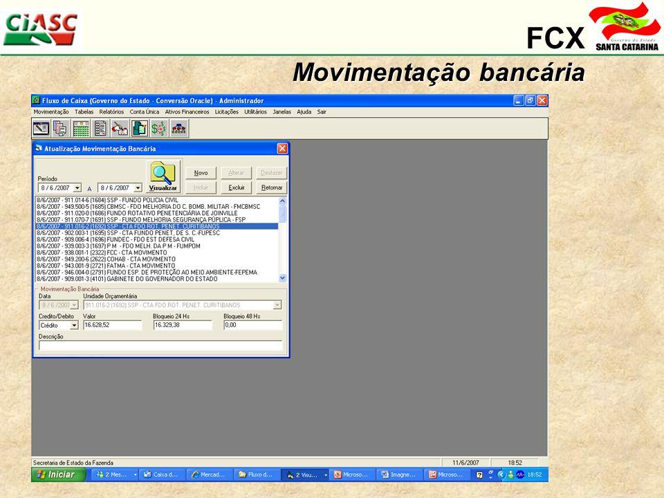 FCX Movimentação bancária
