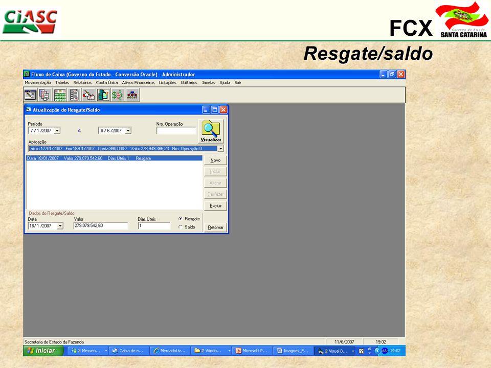 FCX Resgate/saldo