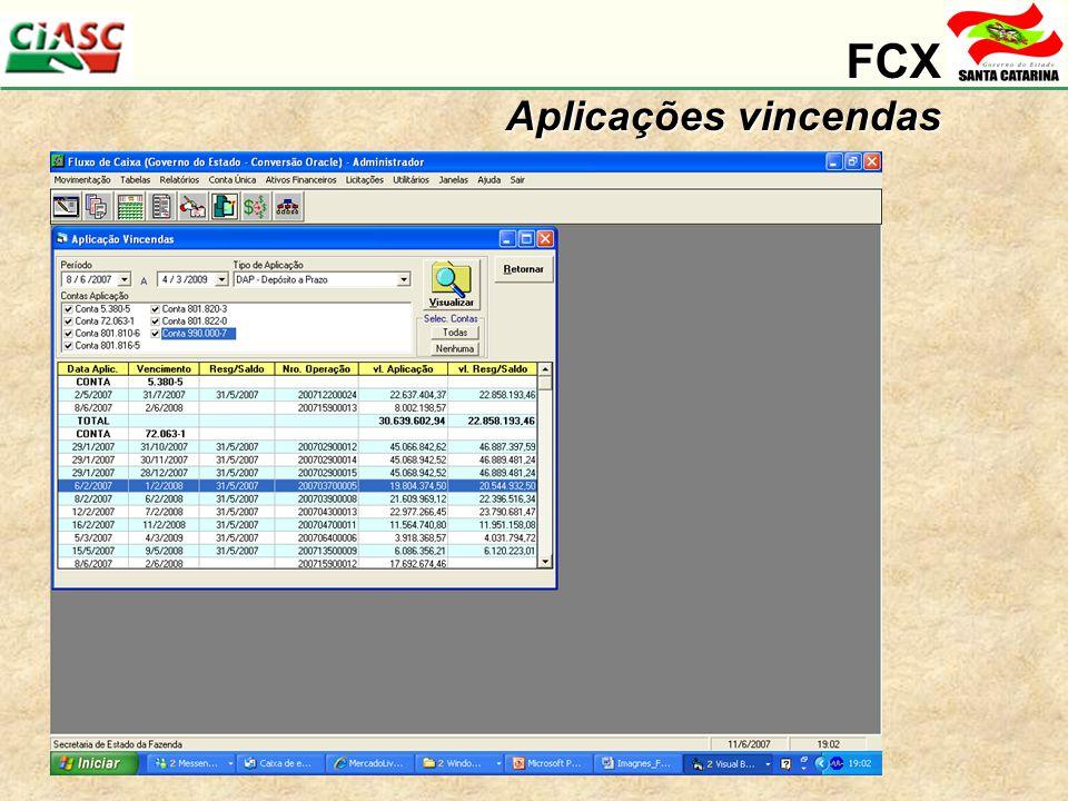 FCX Aplicações vincendas