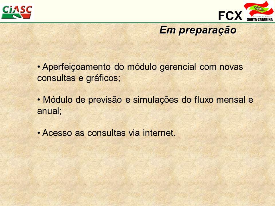 FCX Em preparação. Aperfeiçoamento do módulo gerencial com novas consultas e gráficos; Módulo de previsão e simulações do fluxo mensal e anual;