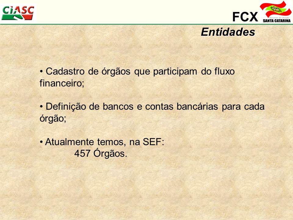 FCX Entidades Cadastro de órgãos que participam do fluxo financeiro;