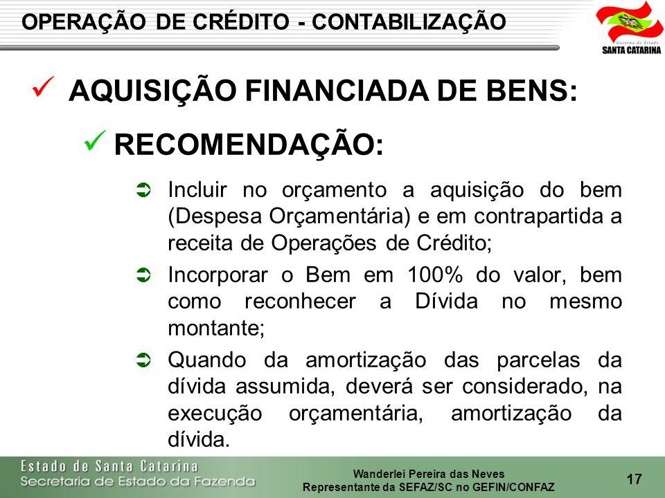 AQUISIÇÃO FINANCIADA DE BENS: RECOMENDAÇÃO: