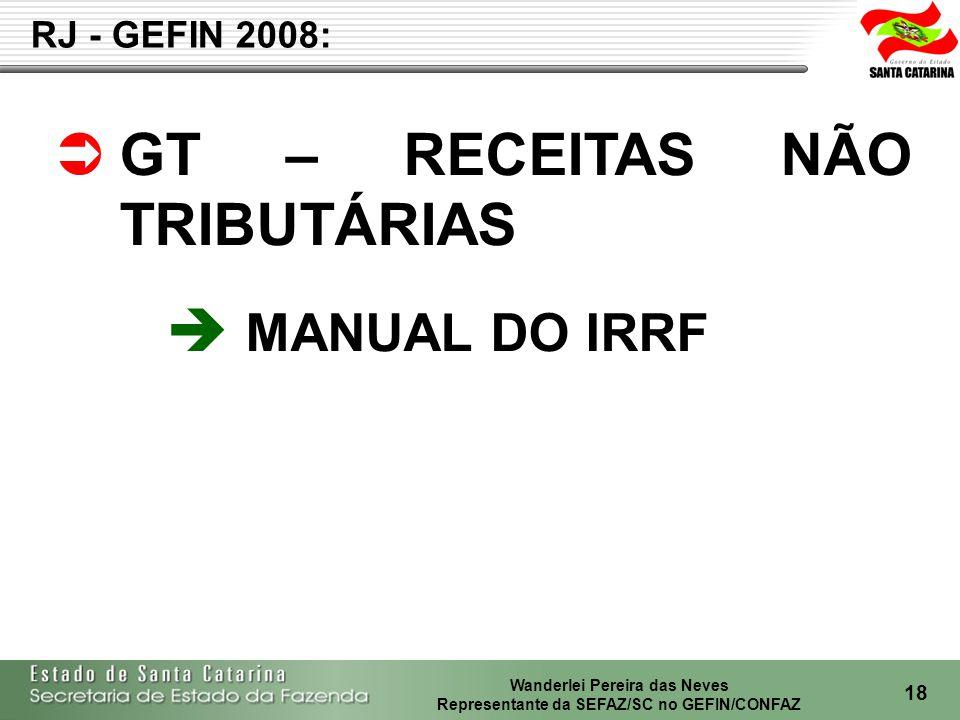 GT – RECEITAS NÃO TRIBUTÁRIAS MANUAL DO IRRF