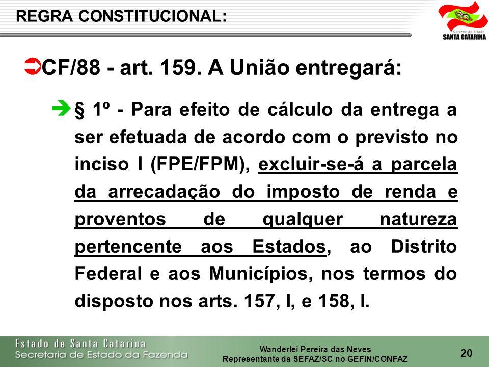 CF/88 - art. 159. A União entregará: