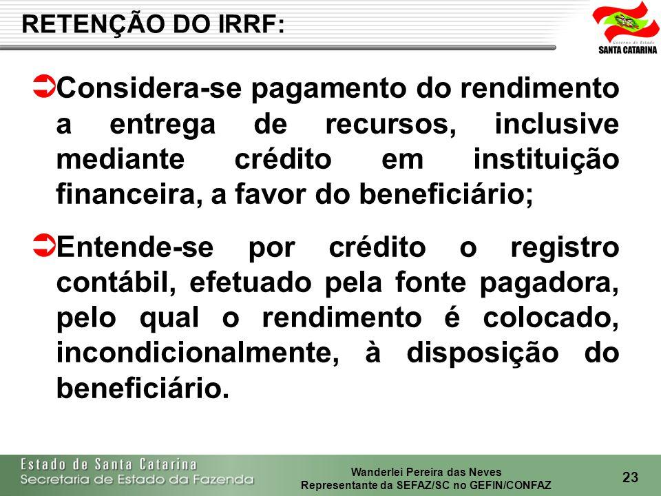 RETENÇÃO DO IRRF: