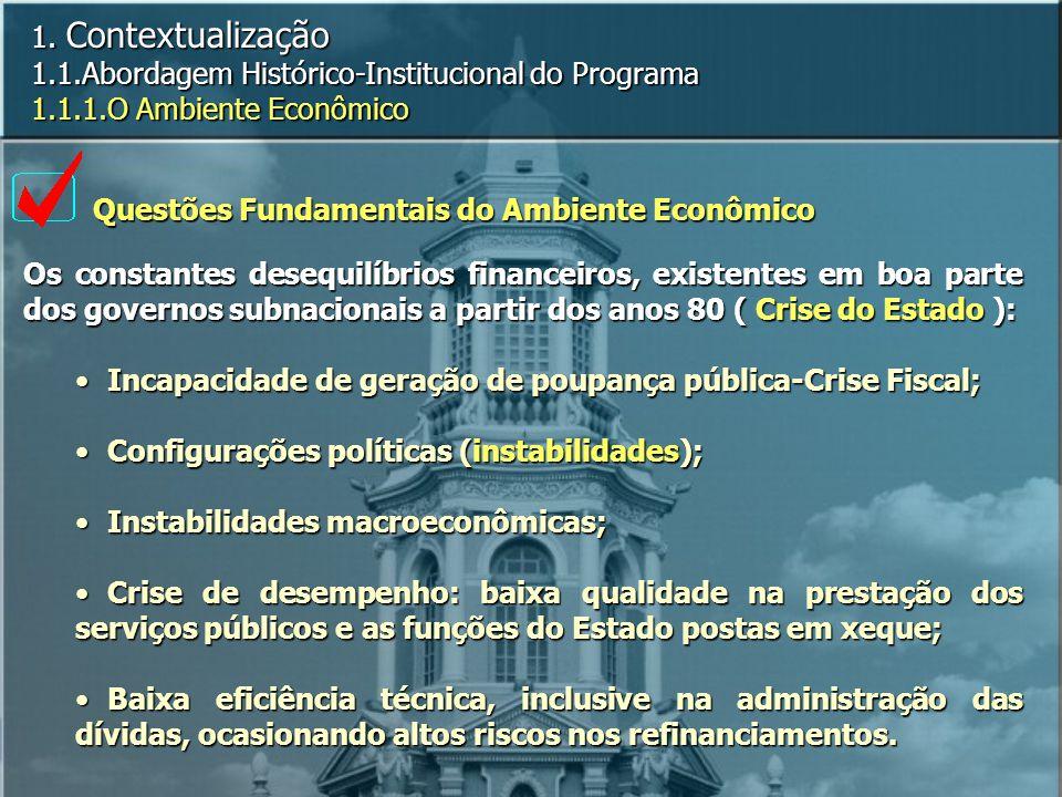 1. Contextualização 1.1.Abordagem Histórico-Institucional do Programa 1.1.1.O Ambiente Econômico