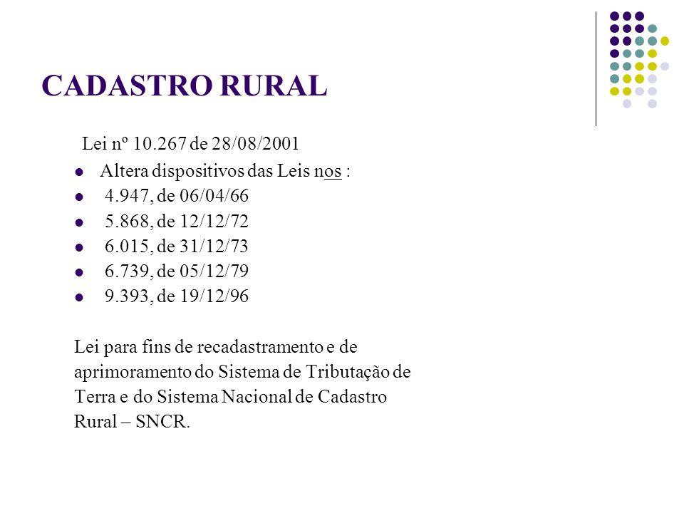 CADASTRO RURAL Lei nº 10.267 de 28/08/2001