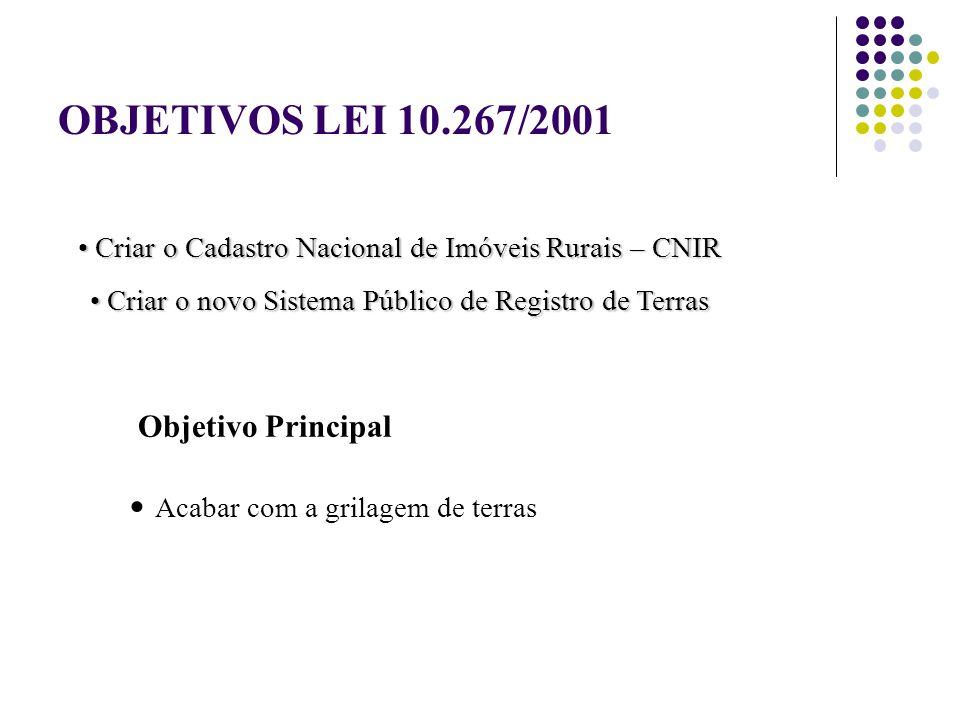 OBJETIVOS LEI 10.267/2001 Objetivo Principal