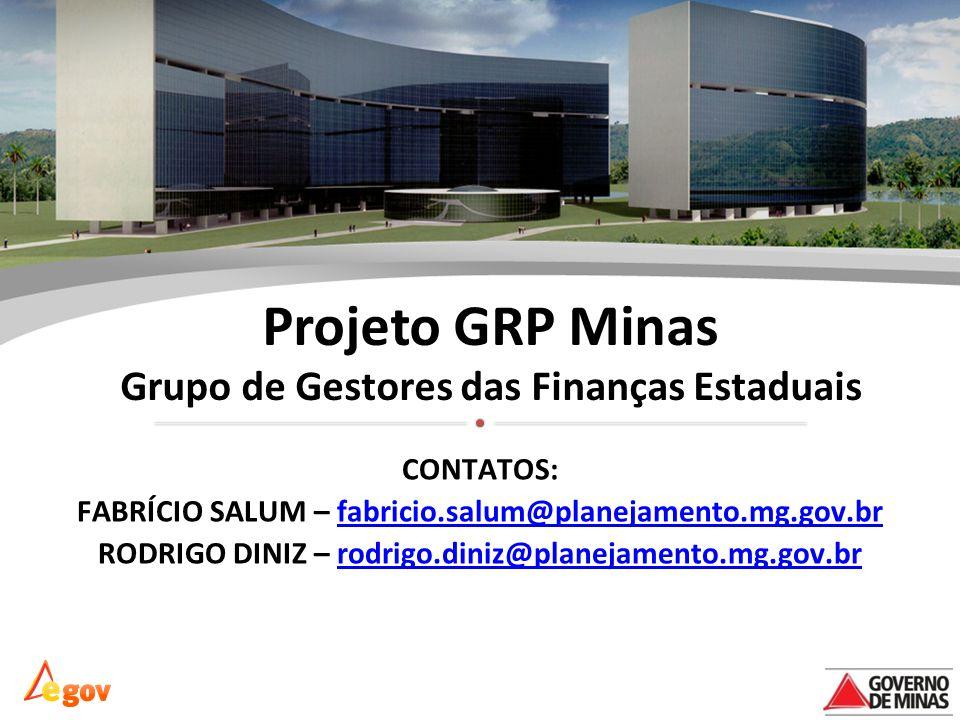 Projeto GRP Minas Grupo de Gestores das Finanças Estaduais CONTATOS: