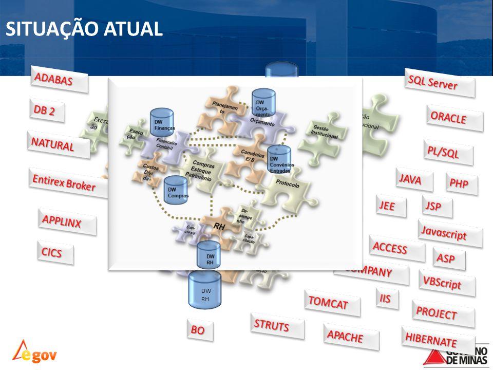Situação atual SITUAÇÃO ATUAL ADABAS SQL Server DB 2 ORACLE NATURAL