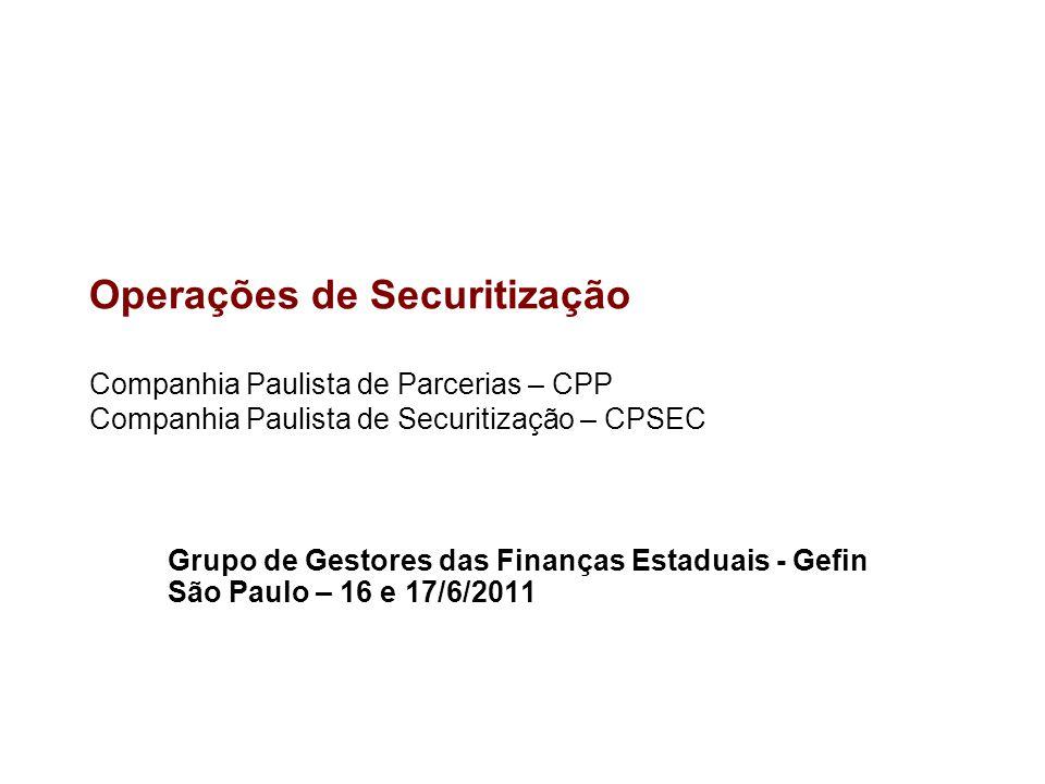 Operações de Securitização Companhia Paulista de Parcerias – CPP Companhia Paulista de Securitização – CPSEC