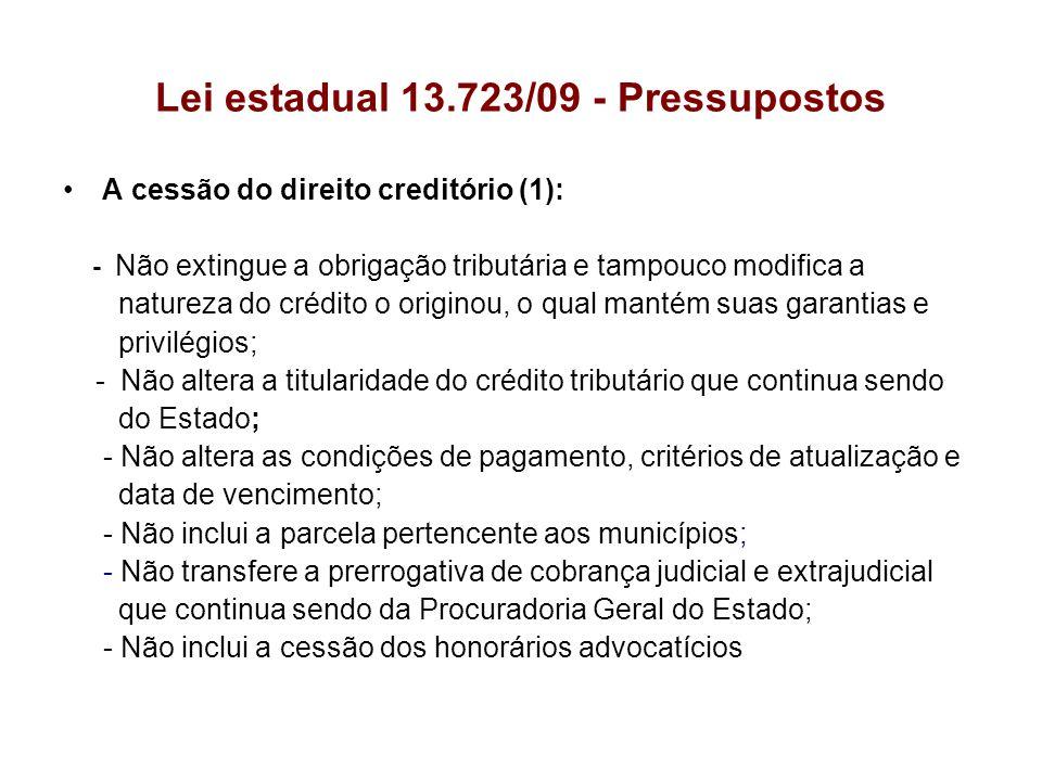 Lei estadual 13.723/09 - Pressupostos