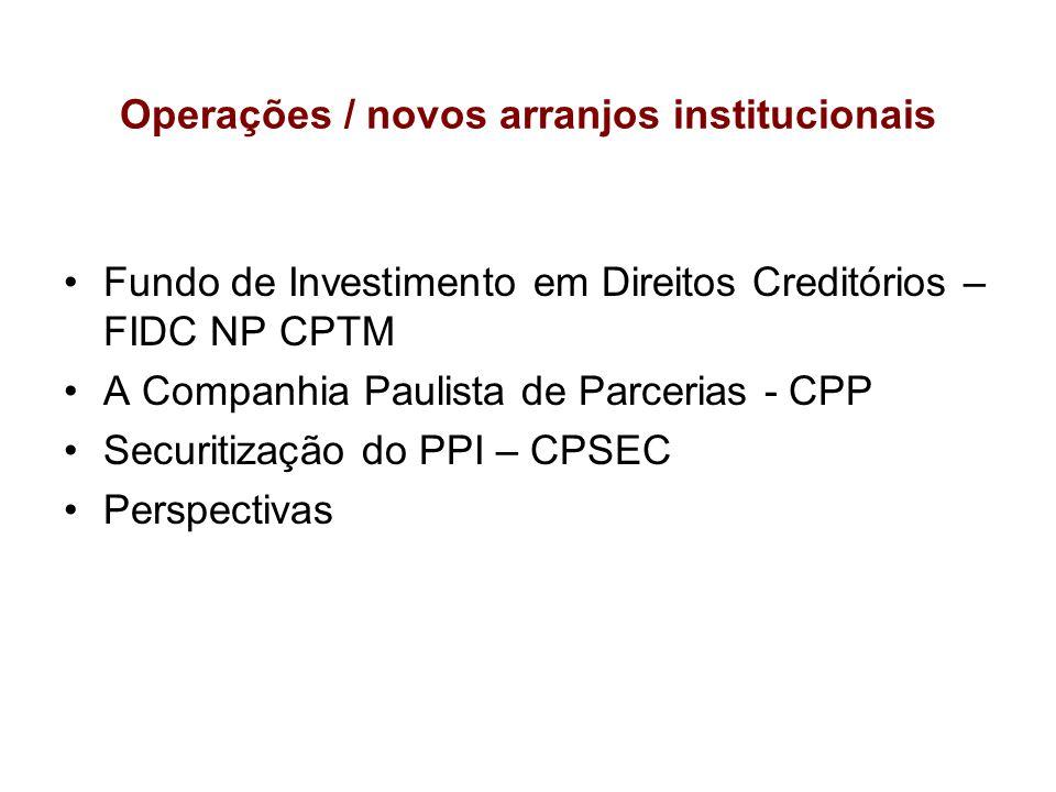 Operações / novos arranjos institucionais
