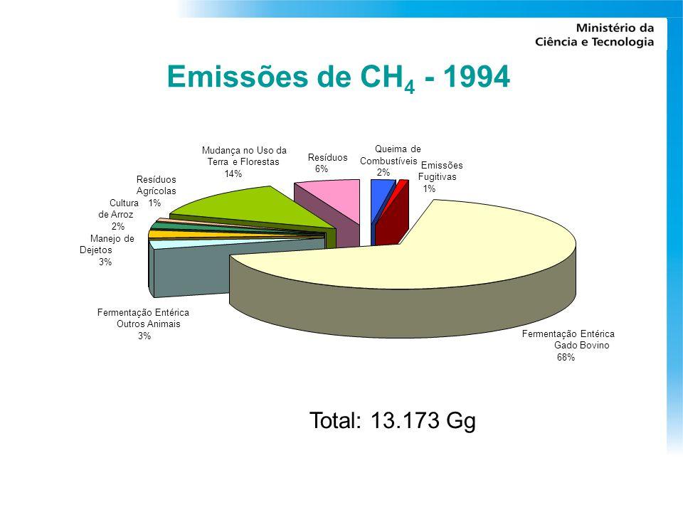 Emissões de CH4 - 1994 Total: 13.173 Gg Mudança no Uso da Queima de