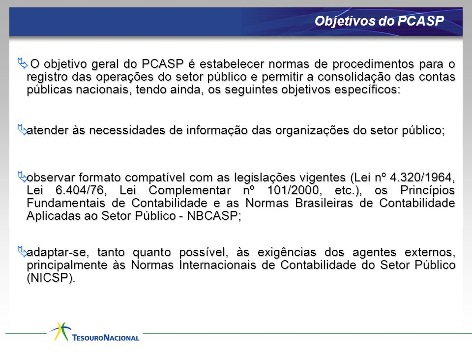Objetivos do PCASP