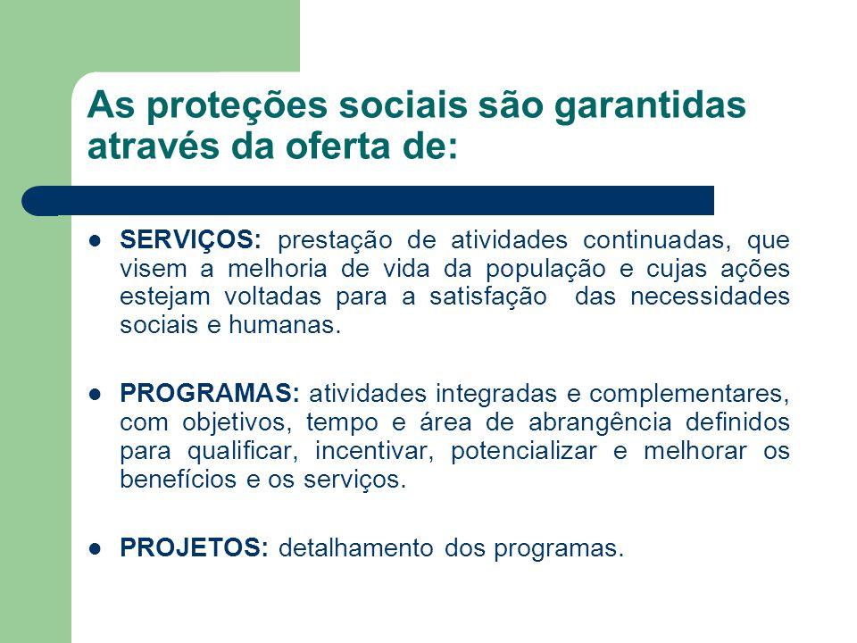 As proteções sociais são garantidas através da oferta de: