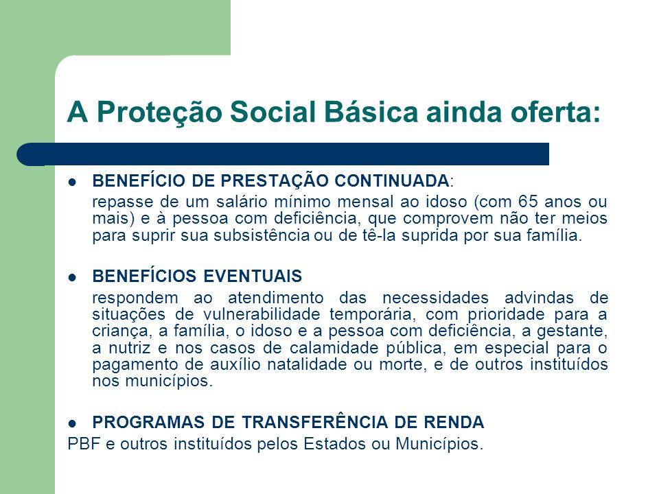 A Proteção Social Básica ainda oferta: