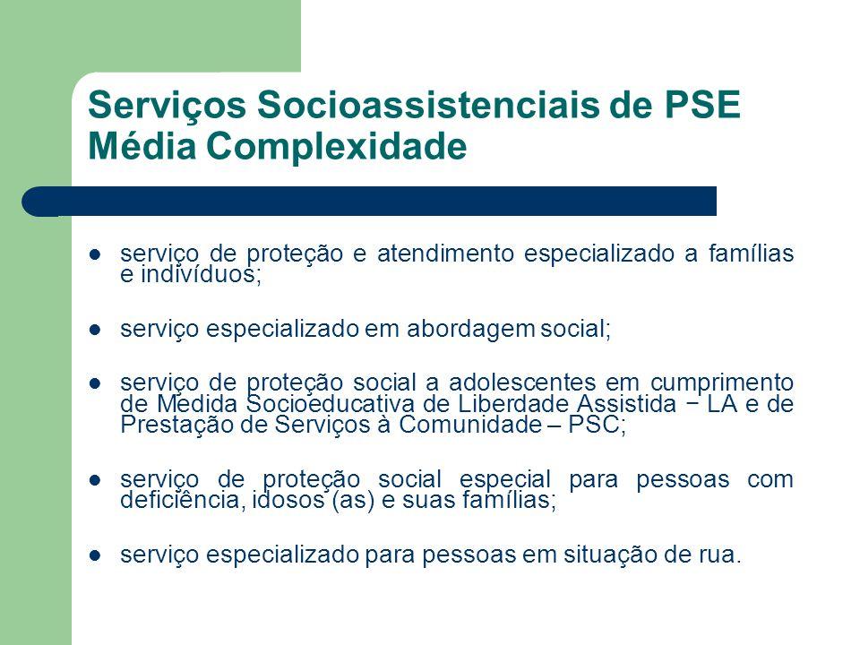Serviços Socioassistenciais de PSE Média Complexidade