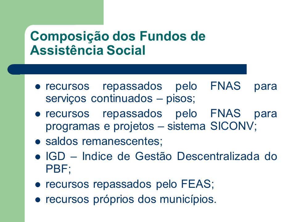 Composição dos Fundos de Assistência Social