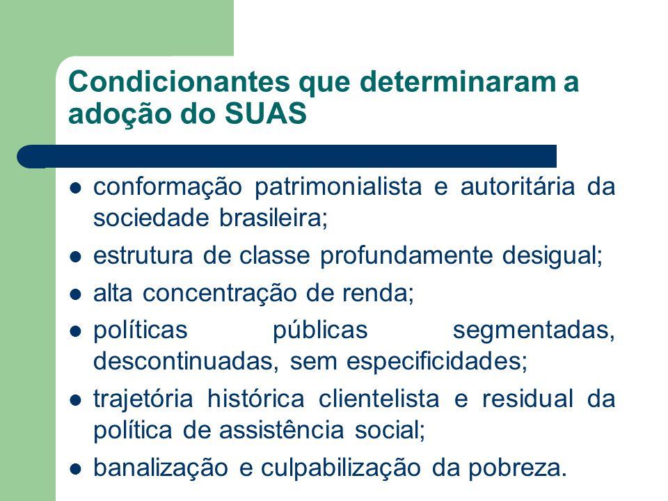 Condicionantes que determinaram a adoção do SUAS