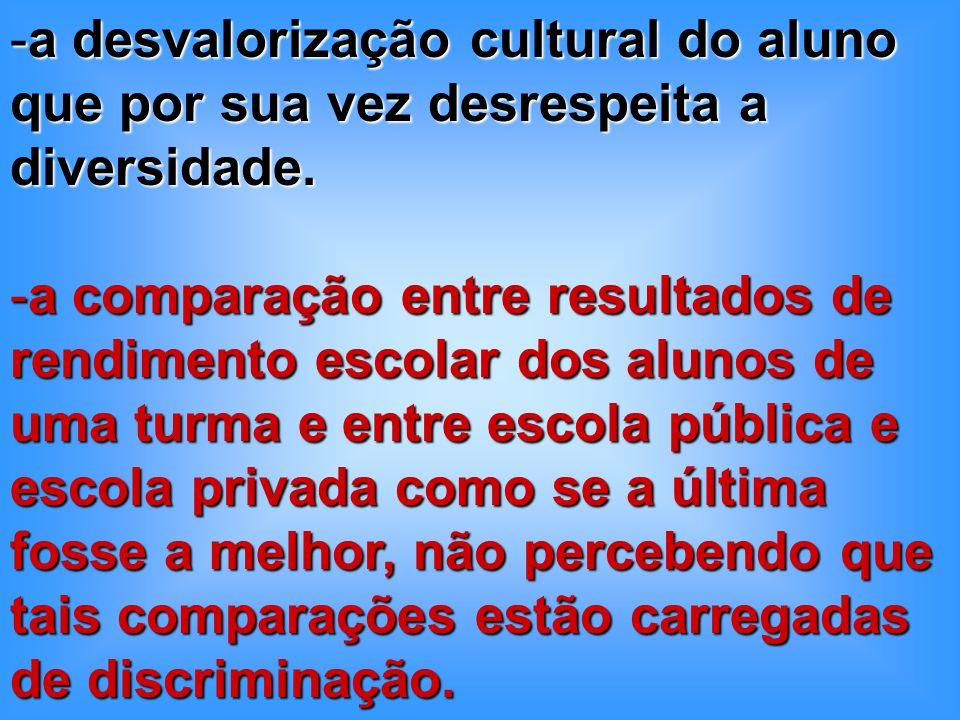 a desvalorização cultural do aluno que por sua vez desrespeita a diversidade.