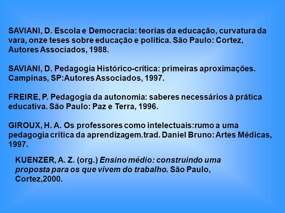 SAVIANI, D. Escola e Democracia: teorias da educação, curvatura da vara, onze teses sobre educação e política. São Paulo: Cortez,