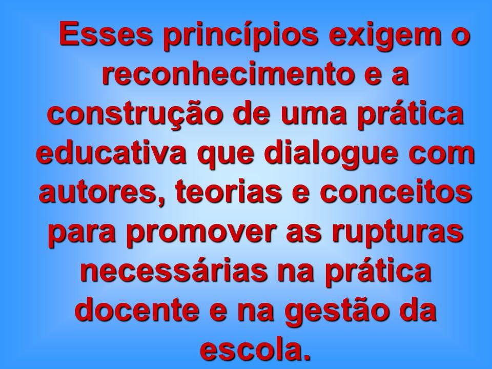 Esses princípios exigem o reconhecimento e a construção de uma prática educativa que dialogue com autores, teorias e conceitos para promover as rupturas necessárias na prática docente e na gestão da escola.