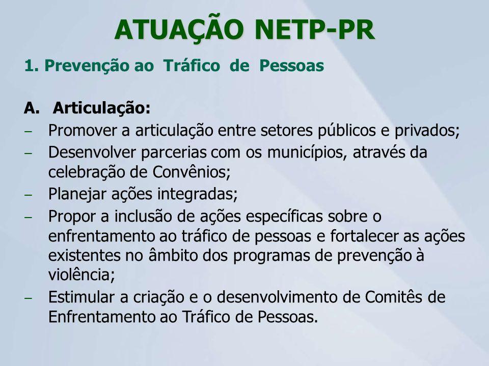 ATUAÇÃO NETP-PR 1. Prevenção ao Tráfico de Pessoas Articulação: