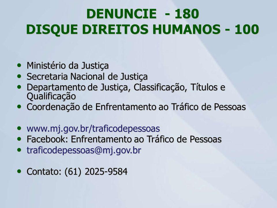 DENUNCIE - 180 DISQUE DIREITOS HUMANOS - 100