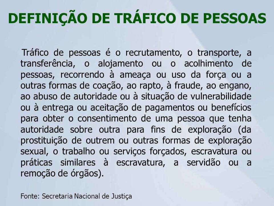 DEFINIÇÃO DE TRÁFICO DE PESSOAS
