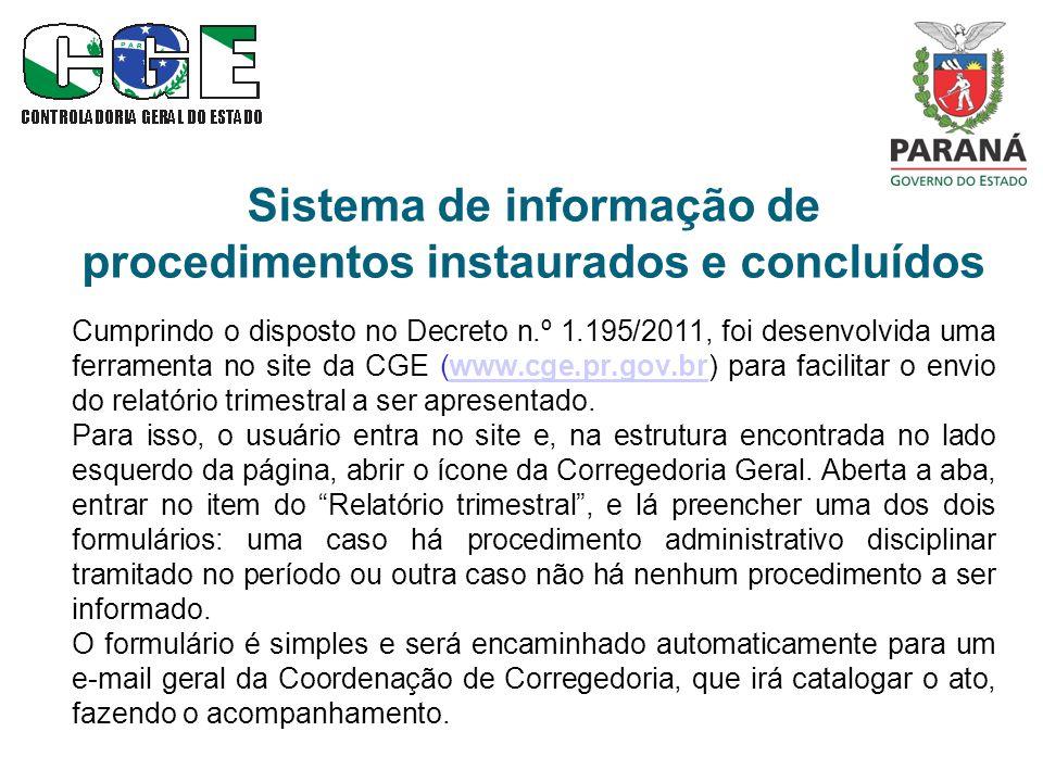 Sistema de informação de procedimentos instaurados e concluídos