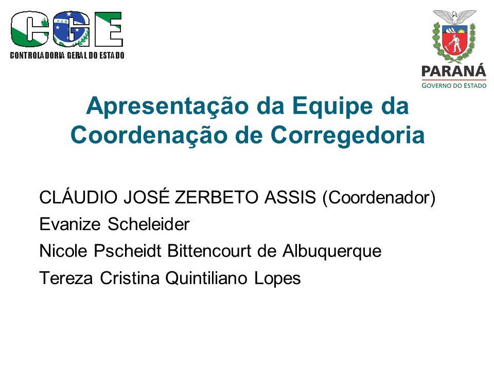 Apresentação da Equipe da Coordenação de Corregedoria