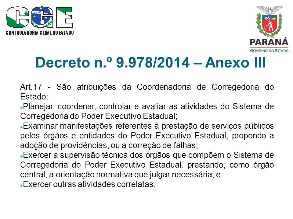 Decreto n.º 9.978/2014 – Anexo III Art.17 - São atribuições da Coordenadoria de Corregedoria do Estado: