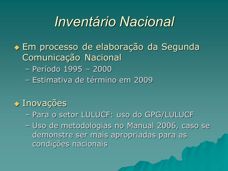Inventário Nacional Em processo de elaboração da Segunda Comunicação Nacional. Período 1995 – 2000.