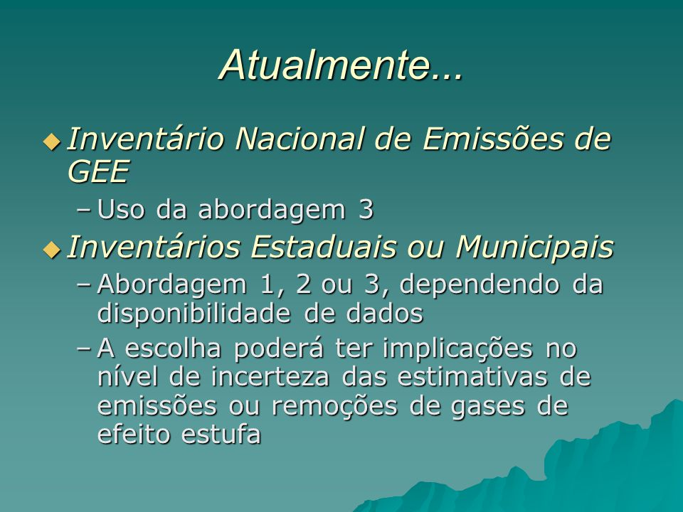 Atualmente... Inventário Nacional de Emissões de GEE