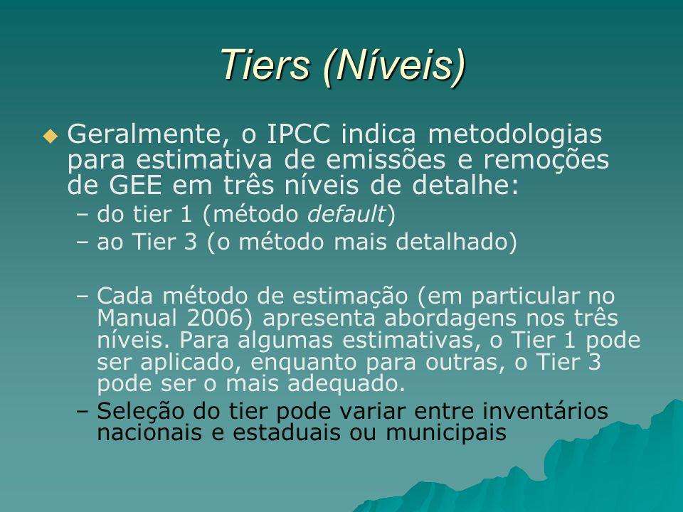 Tiers (Níveis) Geralmente, o IPCC indica metodologias para estimativa de emissões e remoções de GEE em três níveis de detalhe: