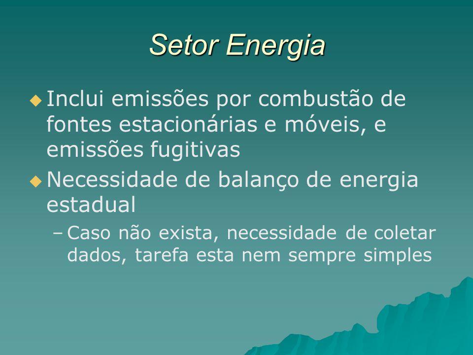 Setor Energia Inclui emissões por combustão de fontes estacionárias e móveis, e emissões fugitivas.