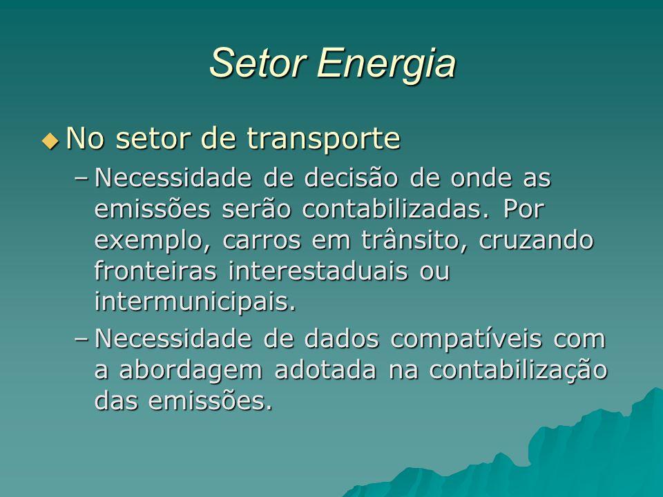 Setor Energia No setor de transporte