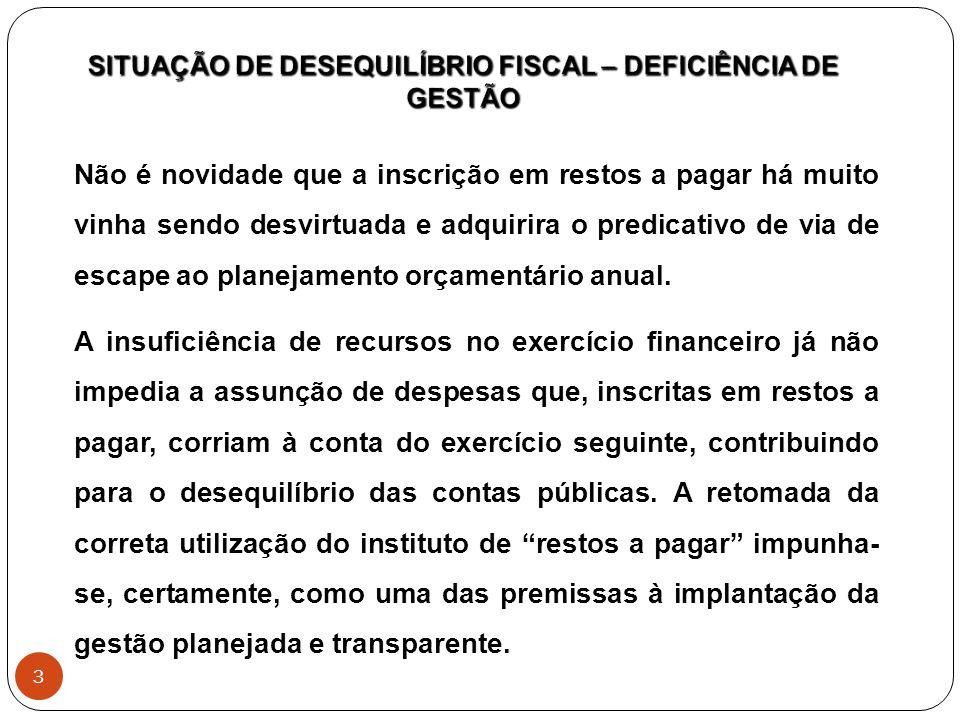 SITUAÇÃO de desequilíbrio fiscal – deficiência de gestão