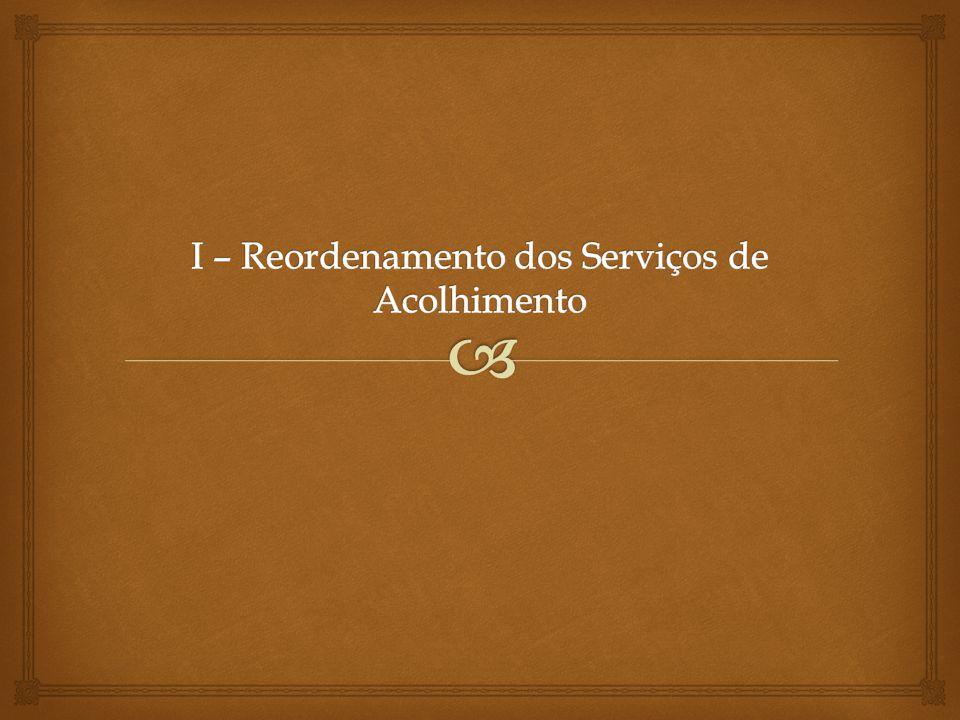 I – Reordenamento dos Serviços de Acolhimento