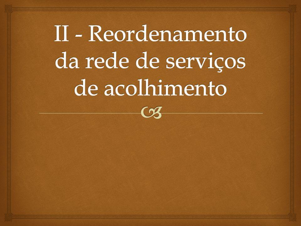II - Reordenamento da rede de serviços de acolhimento