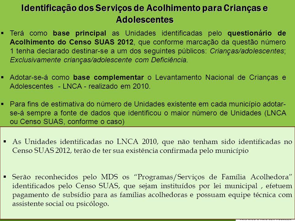Identificação dos Serviços de Acolhimento para Crianças e Adolescentes