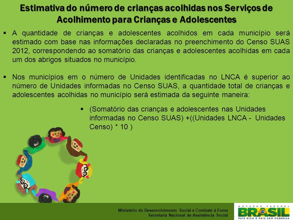 Estimativa do número de crianças acolhidas nos Serviços de Acolhimento para Crianças e Adolescentes