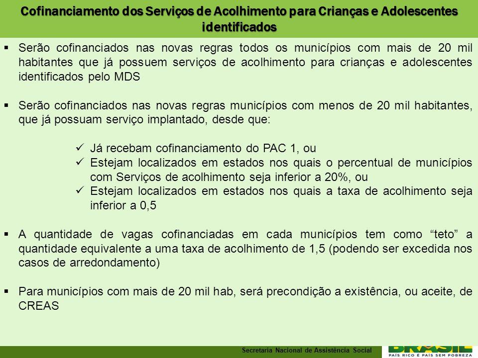 Cofinanciamento dos Serviços de Acolhimento para Crianças e Adolescentes identificados